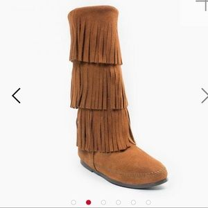Brown Minnetonka 3 Layer Fringe Boot